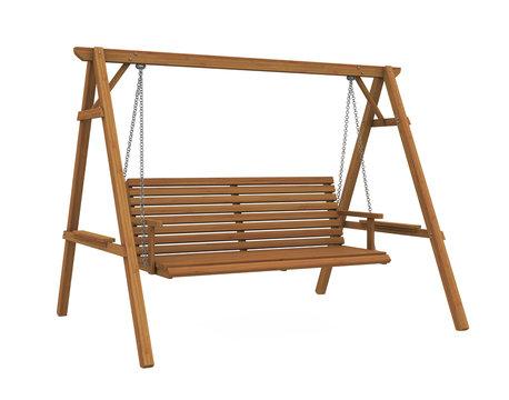 Wooden Garden Swing Seat Isolated