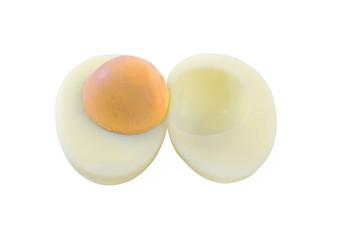 boiled egg on white background.