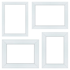 Set of white wood frame or photo frame isolated on white background. Object with clipping path