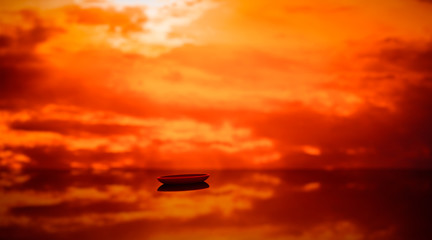 Lonely boat on the sea in sunset warm orange light 3D illustration