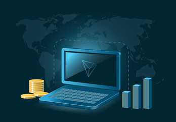 Tron Cryptocurrency Coin Global Laptop Trade Background