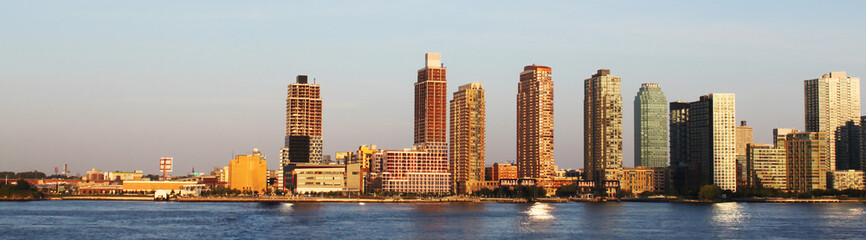 Website heading and banner of New York cityscape, high skyscrapers near sea. Concept of american blod header, cheap tours to USA and green card.