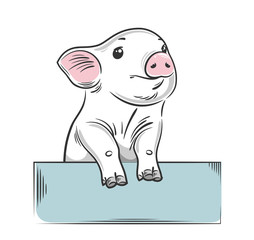 cute, little pig, drawing by hand, children's print, drawing by hand style, sketch