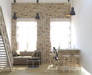 3d rendering of loft interior design with brick wall