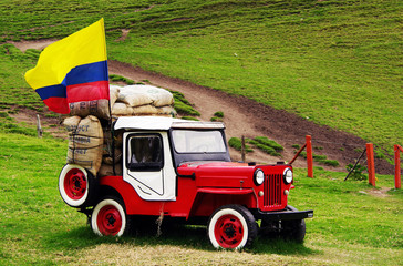 Jeep Willys on Cocora valley in Cordiliera Central, Salento, Colombia, South America