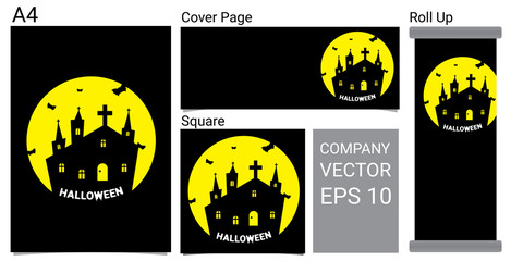 Happy Halloween Banner Background With Ghost Cartoon Set Vector Illustration