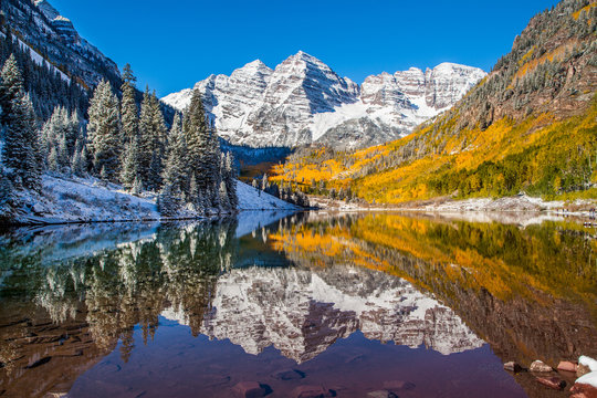 Maroon Bells in fall foliage after snow storm in Aspen,  Colorado