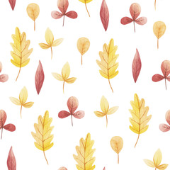 Yellow and red leaf of watercolor seamless pattern. Hello November, October, September.