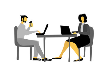 Businessman and businesswoman vector illustration for newspaper website banner. Man and woman in office