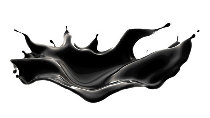 Splash of black liquid. 3d illustration, 3d rendering. Wall mural