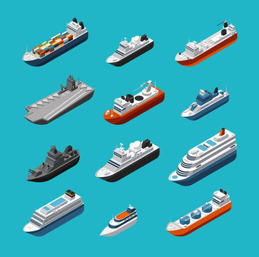 Passenger and cargo ships, sailing boats, yachts and vessels isometric vector transportation icons isolated. Liner and tugboat, tanker shipping, steamboat illustration