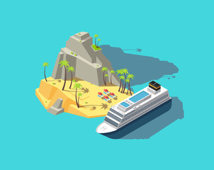 Isometric island. Paradise in ocean. 3d beach in sea. Summer holiday vector concept. Palm and beach, tropical island travel, summer paradise illustration