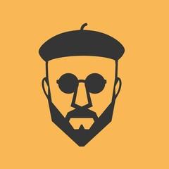PrintMan beret glasses