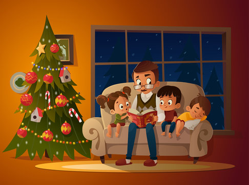 Grandfather sitting with grandchildren on a cozy sofa with the book, near Christmas tree. Reading and telling book fairy tale story. Boys and girl listen to him. Vector illustration. Cozy evening
