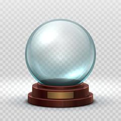 Fototapeta Christmas snowglobe. Crystal glass empty ball. Magic xmas holiday snow ball vector mockup isolated. Illustration of dome souvenir transparency, sphere ball transparent glossy