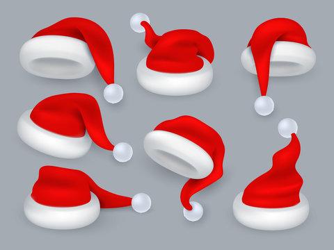 Santa hats. Christmas 3d santa claus hat, winter holiday red caps with fur. Vector realistic isolated set of santa claus hat with fur, holiday clothing illustration