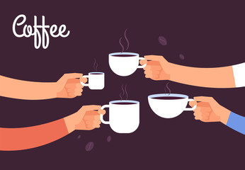 Drinking coffee concept. Friends drink coffee for breakfast. Break in office with espresso vector concept. Illustration of coffee drink, cafe breakfast morning with hot espresso