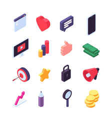 Wall Mural - Social marketing isometric icons. Media message and search 3d social signs. Video, internet and music vector symbols. Isometric network social icon, illustration of marketing and communication