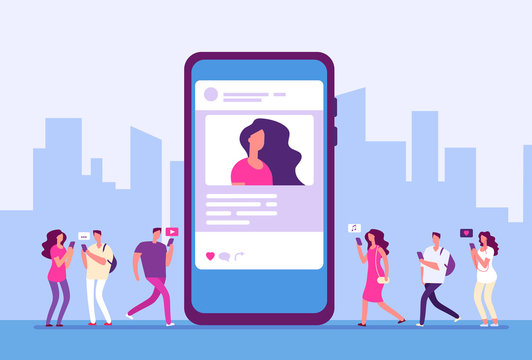 Social media concept. People follow smartphone with internet marketing, message and icons. Social communication vector background. Illustration of communication message and social community