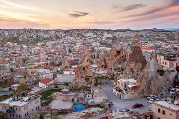 Goreme, Cappadocia, Turkey on sunset. Famous center of balloon fligths.
