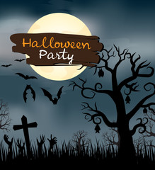 Design of Halloween Party text for halloween day and card or background