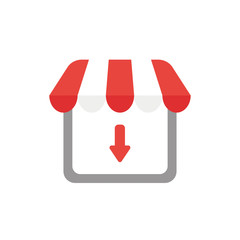 Vector icon concept of shop store with arrow moving down