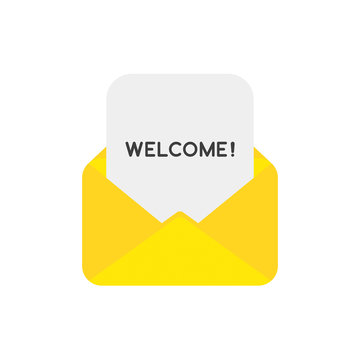 Vector icon concept of welcome paper inside mail envelope