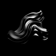 Black background with drapery fabric. 3d illustration, 3d rendering.