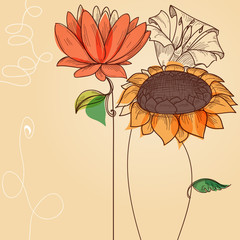 Fototapete - Floral background, sunflower and other abstract flowers vector illustration