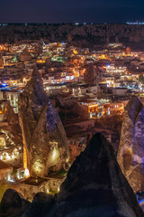 Beautiful view Goreme, Cappadocia, Turkey at night. Famous center of balloon fligths.