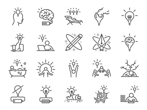 Creativity icon set. Included icons as Inspiration, idea, brain, innovation, imagination and more.