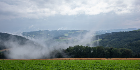 Colorful rural panoramic landscape image with a wide view over fields,forest,hills and foggy valleys towards the horizon and a blue sky with clouds and a bird
