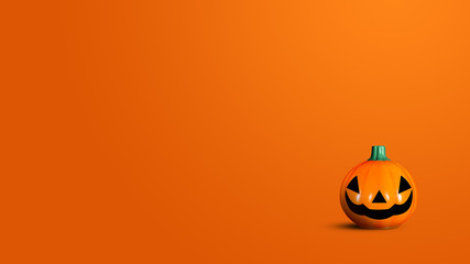 Pumpkin made from plastic on orange background. Halloween and decoration concept. Front view and copy space
