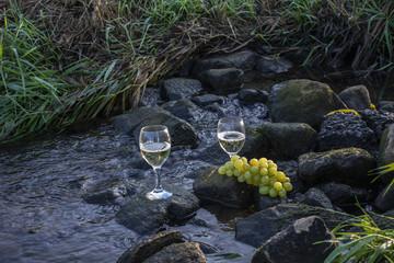 Weißweingläser und Weintrauben auf Steinen im fließenden Gewässer.