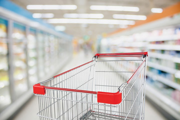 Supermarket aisle blur defocused background with empty red shopping cart
