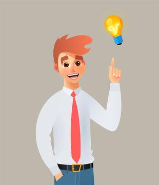 Business idea concept. Businessman with idea bulb vector illustration