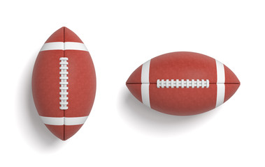 3d rendering of a two red oval balls for American football in top view.