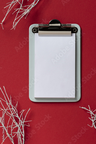 Clipboard On Red Background Flat Lay Top View Trendy With White