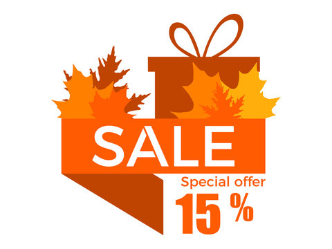Autumn sale, 15% discount. Ribbon with yellowed leaves and a gift box. Vector illustration