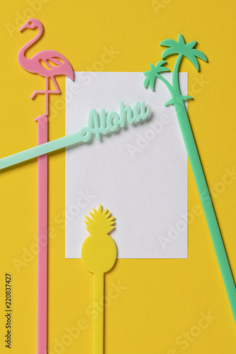 Beautiful Empty Birthday Celebration Card Yellow Background Stock