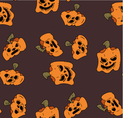 Pattern of pumpkins for Halloween, the day of all the saints. Seamless Pattern of Funny Pumpkins for Halloween Pendant
