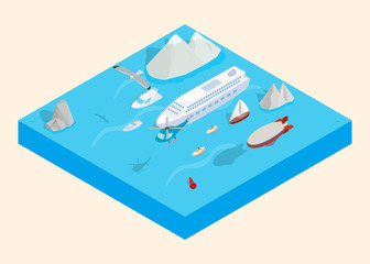 Sea cruise clip art. Isometric clip art of sea cruise concept vector icons for web isolated on white background