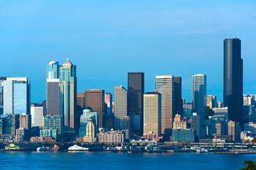 City skyline across Puget Sound, Seattle, Washington State, USA