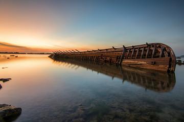 Shipwreck near the sea shore, Indonesia