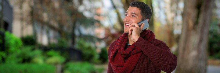 Composite image of man talking on mobile phone