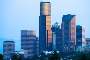 Skyline of downtown Seattle at dawn, Washington State, USA
