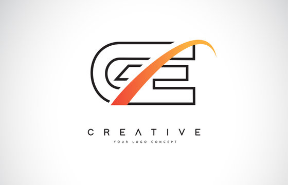 GE G E Swoosh Letter Logo Design with Modern Yellow Swoosh Curved Lines.