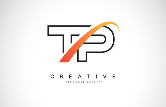 TP T P Swoosh Letter Logo Design with Modern Yellow Swoosh Curved Lines.