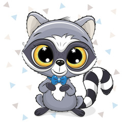 Cute Cartoon Raccoon on a white background