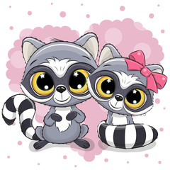 Two cute Raccoons on a heart background